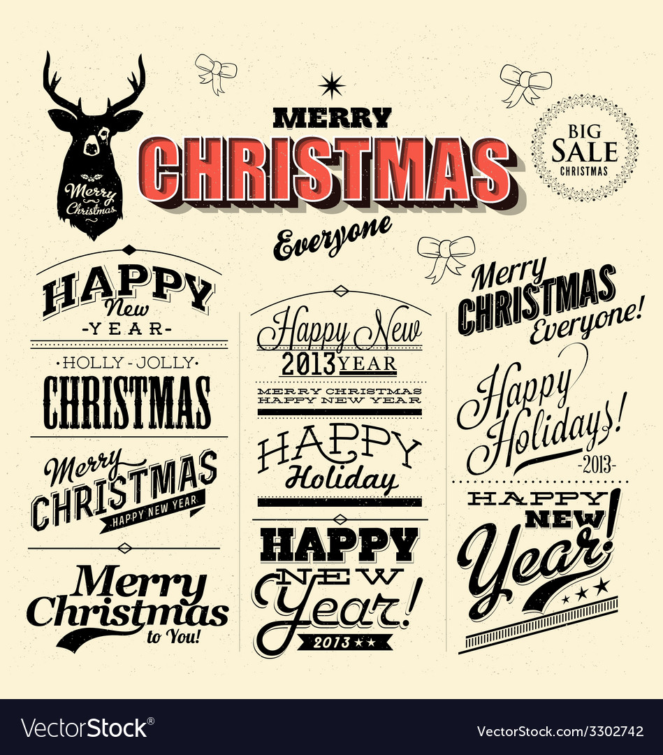 Merry christmas sign and symbols decoration vector | Price: 1 Credit (USD $1)
