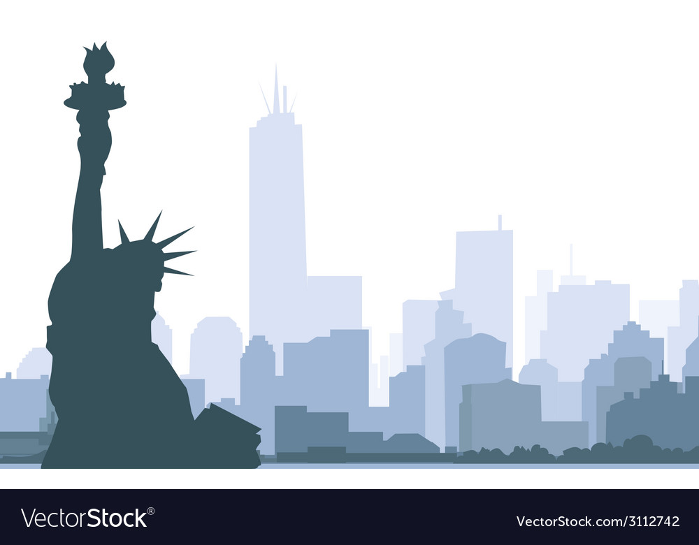 New york skyline and statue of liberty vector   Price: 1 Credit (USD $1)