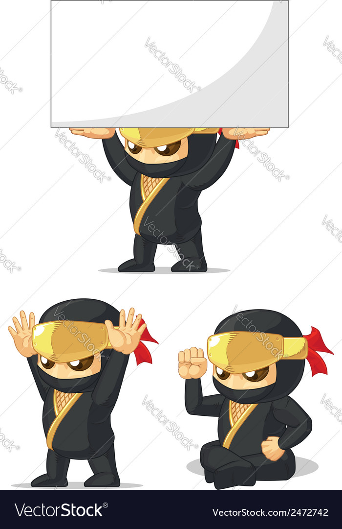 Ninja customizable mascot 11 vector | Price: 1 Credit (USD $1)