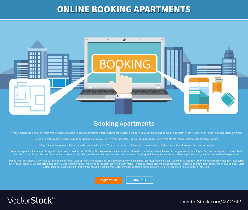 Online booking apartments vector | Price: 1 Credit (USD $1)