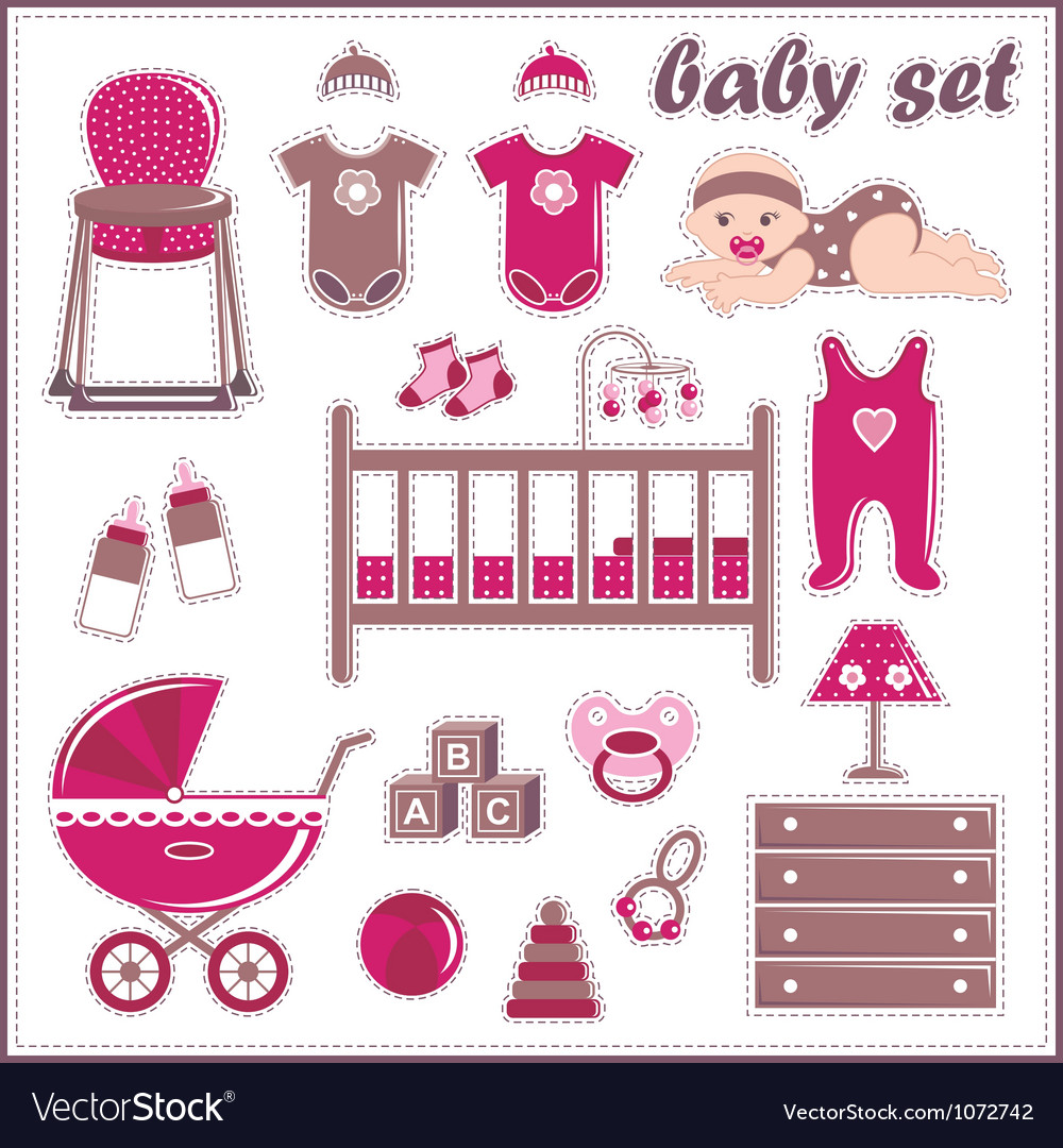 Scrapbook elements with baby girl things vector | Price: 1 Credit (USD $1)