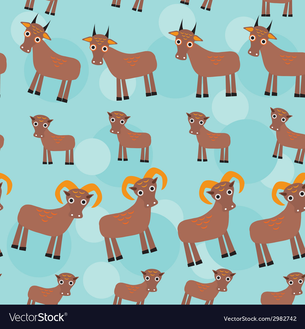 Set of funny animals with cubs goats seamless vector | Price: 1 Credit (USD $1)