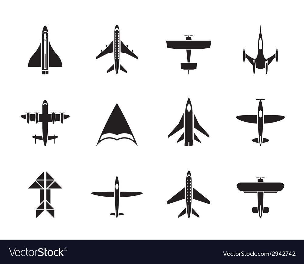 Silhouette different types of plane icons vector | Price: 1 Credit (USD $1)