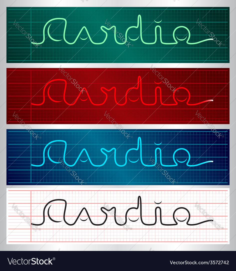 Stylized cardiogram lettering set vector | Price: 1 Credit (USD $1)
