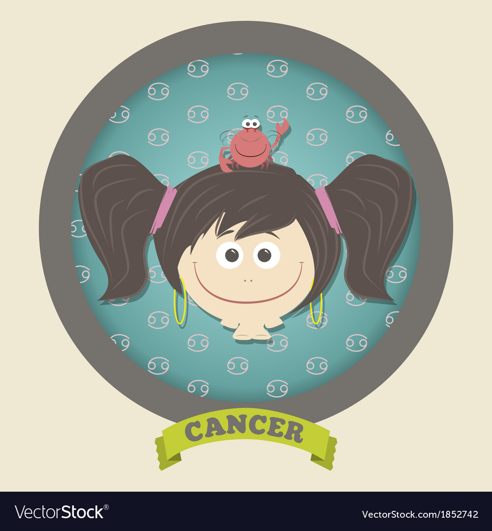 Zodiac signs collection cute horoscope - cancer vector | Price: 1 Credit (USD $1)
