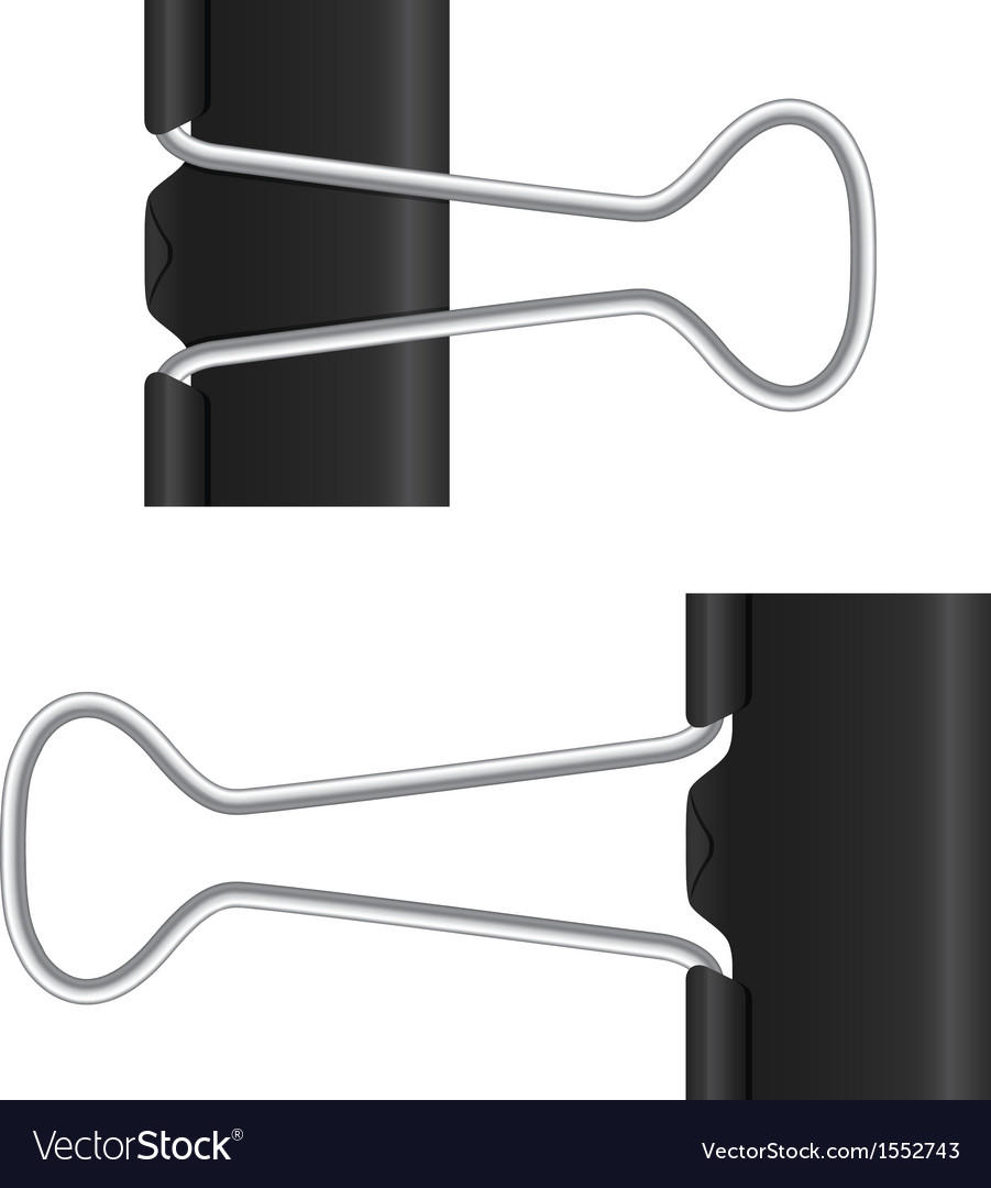 Binder clip black paper clip isolated metal icon vector | Price: 1 Credit (USD $1)
