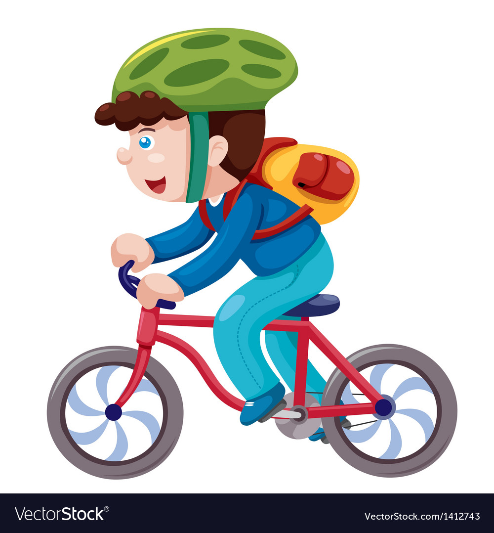 Boy on a bicycle vector | Price: 3 Credit (USD $3)
