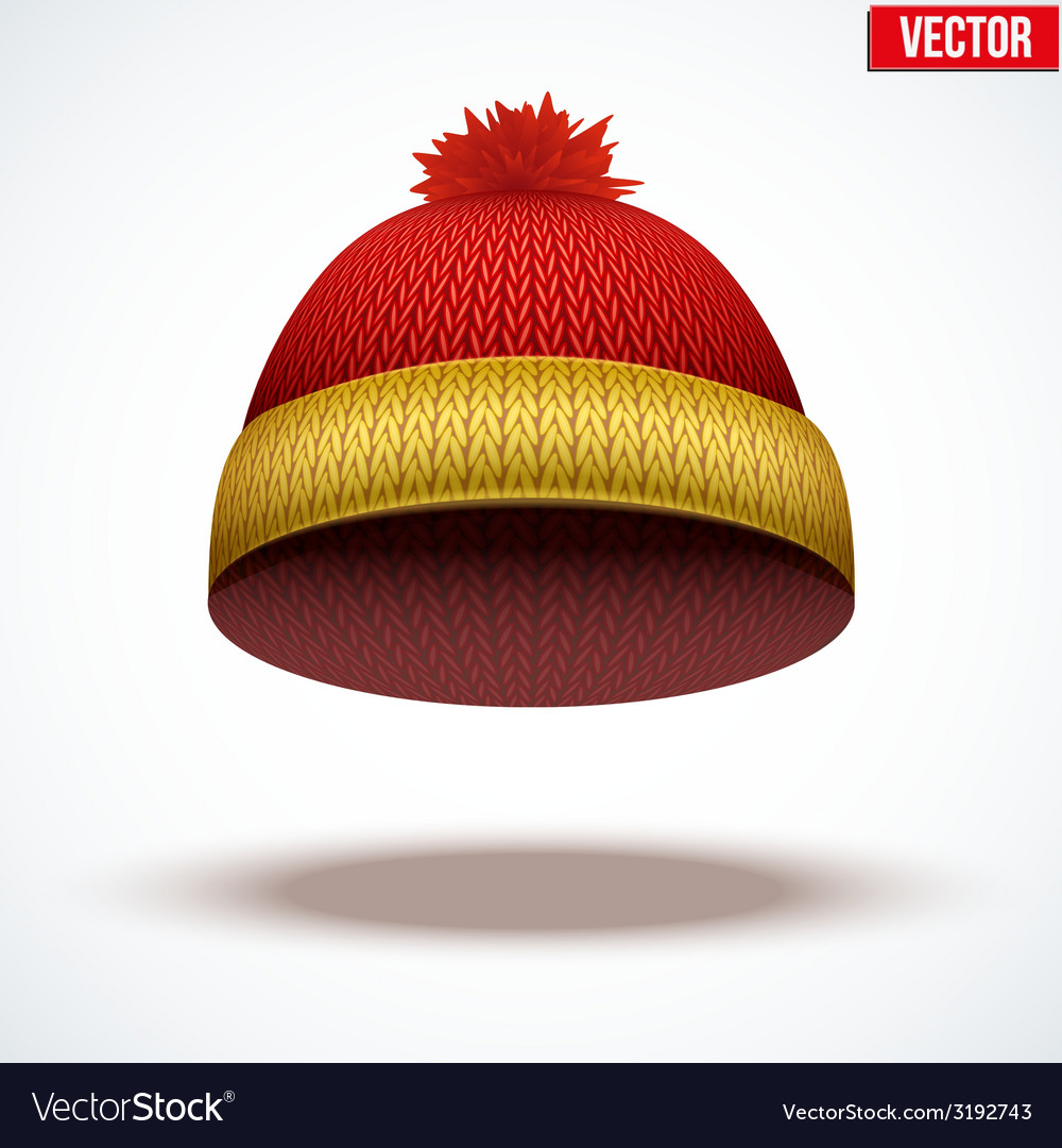 Knitted woolen cap winter seasonal colorful hat vector | Price: 1 Credit (USD $1)