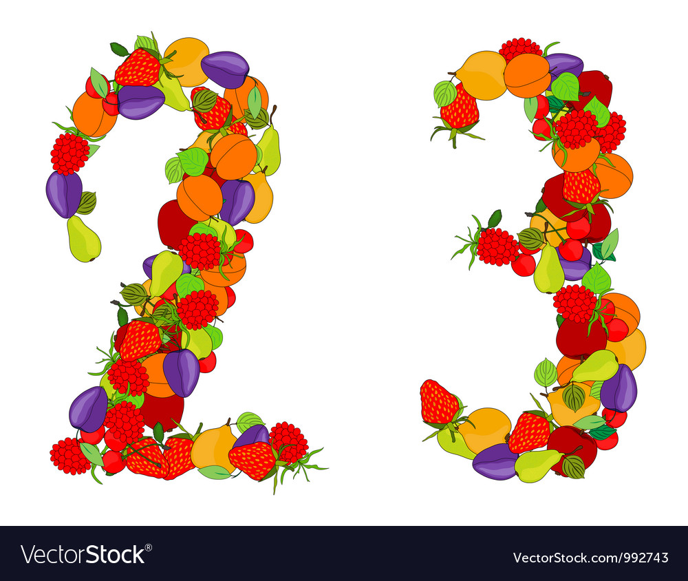 Number two and number three vector | Price: 1 Credit (USD $1)