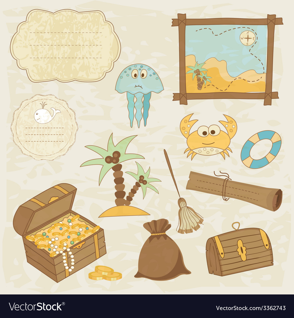 Sea scrapbook elements 2 vector | Price: 1 Credit (USD $1)