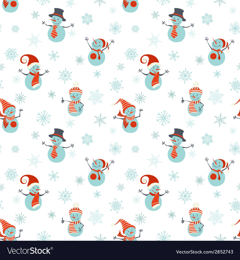 Seamless pattern of snowmen on white background vector | Price: 1 Credit (USD $1)