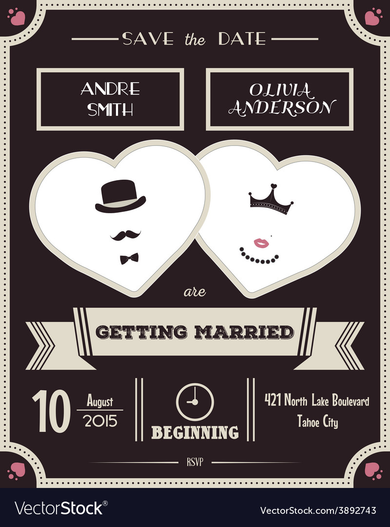 Wedding invitation vintage card the template vector | Price: 1 Credit (USD $1)