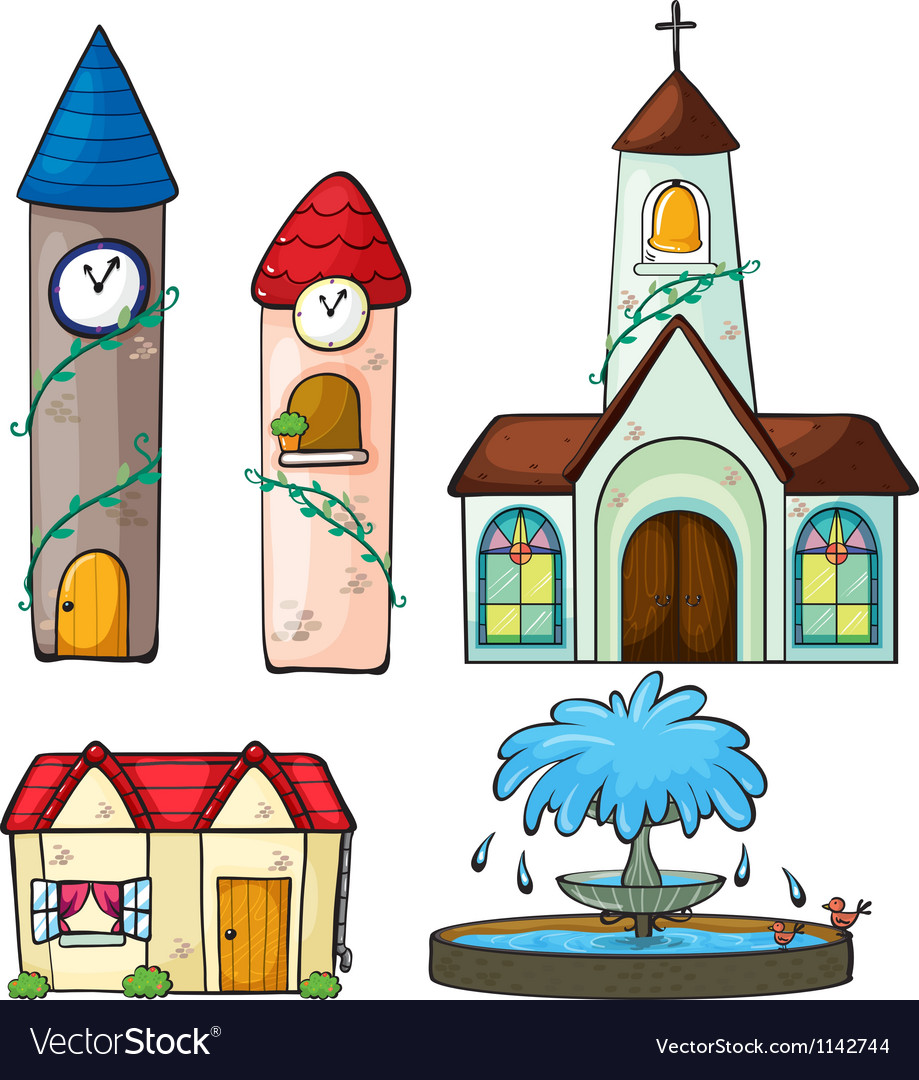 A clock tower church house and fountain vector | Price: 1 Credit (USD $1)