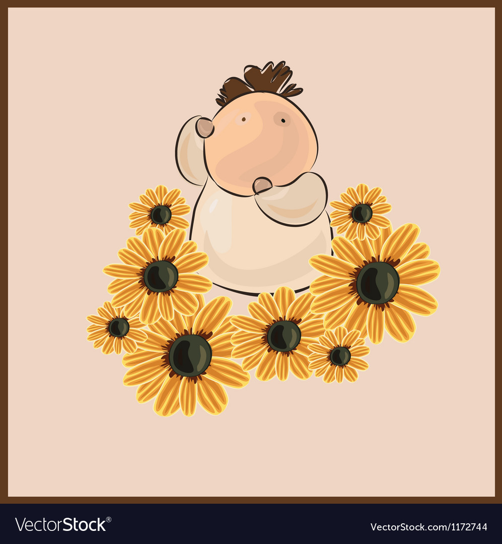 Boy with flower camomile vector | Price: 1 Credit (USD $1)