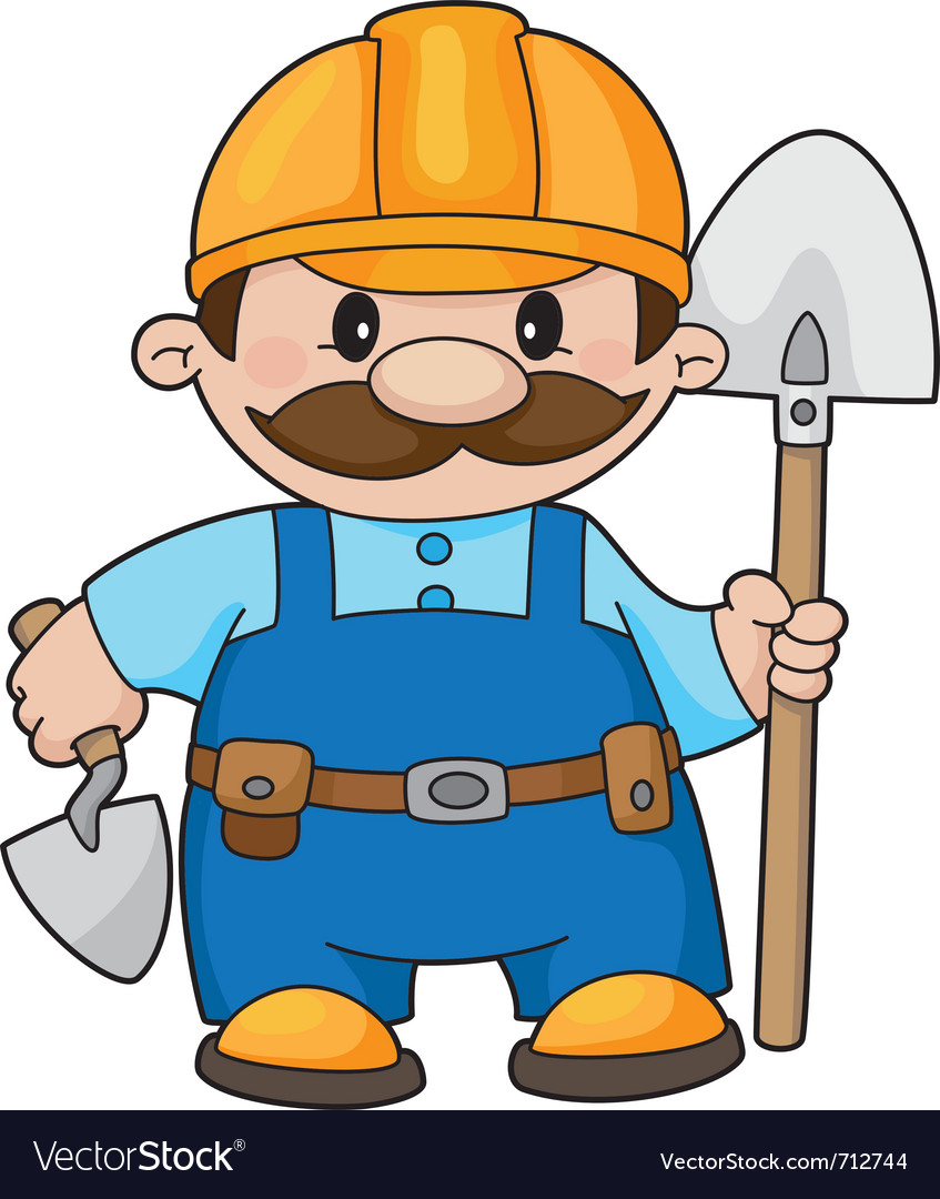 Builder with a shovel vector | Price: 1 Credit (USD $1)