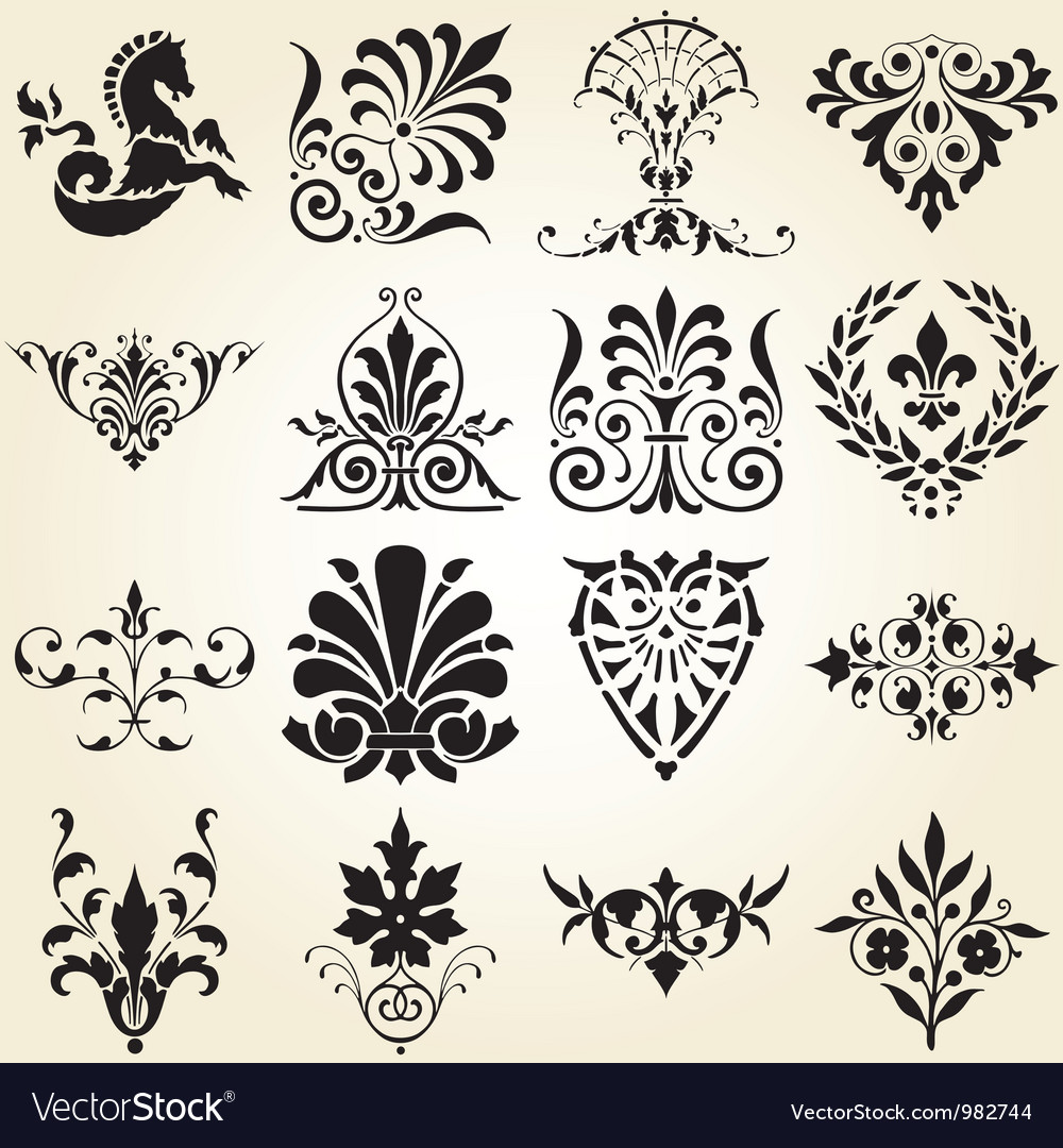 Decorative ornaments design elements vector | Price: 1 Credit (USD $1)