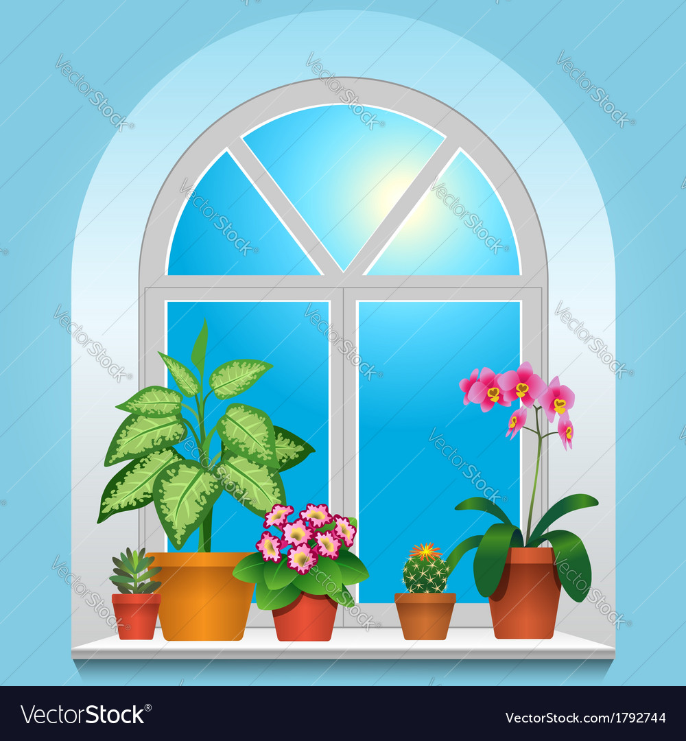 Flowers window blue vector | Price: 1 Credit (USD $1)