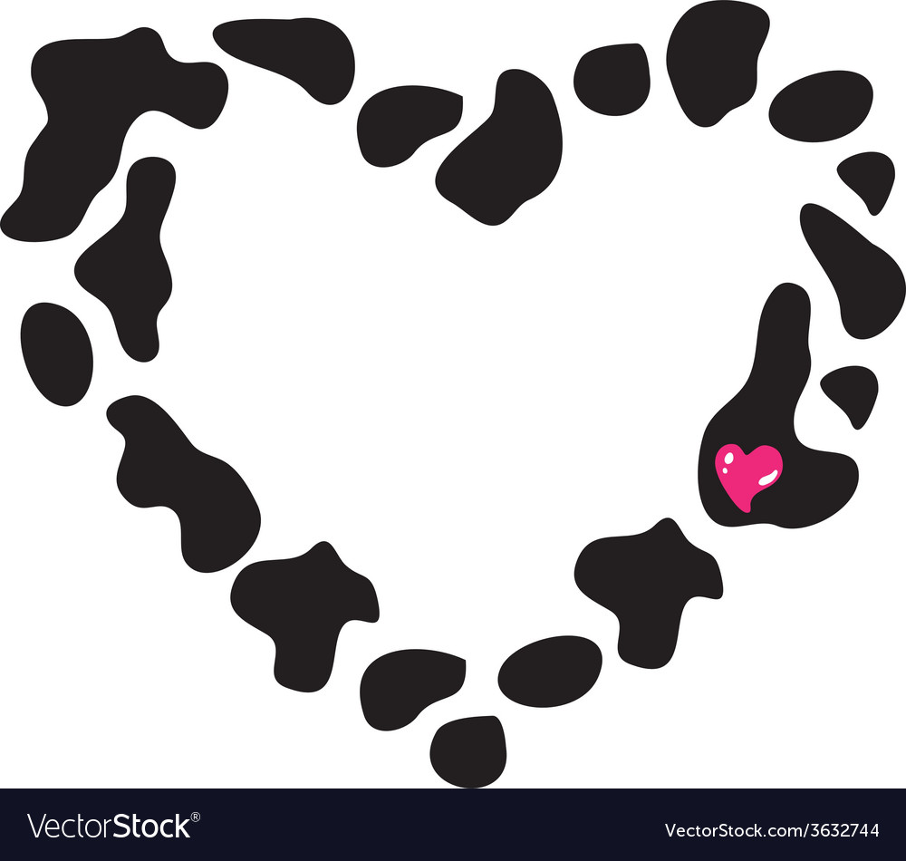 Frame heart of cow spots vector | Price: 1 Credit (USD $1)