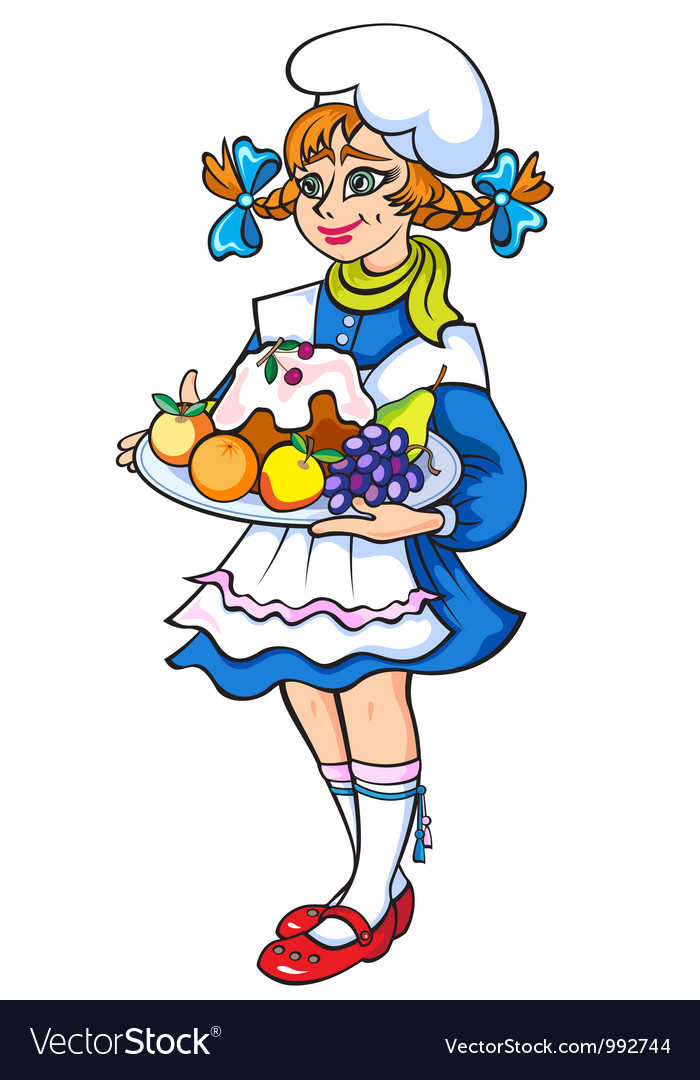 Girl in culinary hat with cake in hands vector | Price: 1 Credit (USD $1)