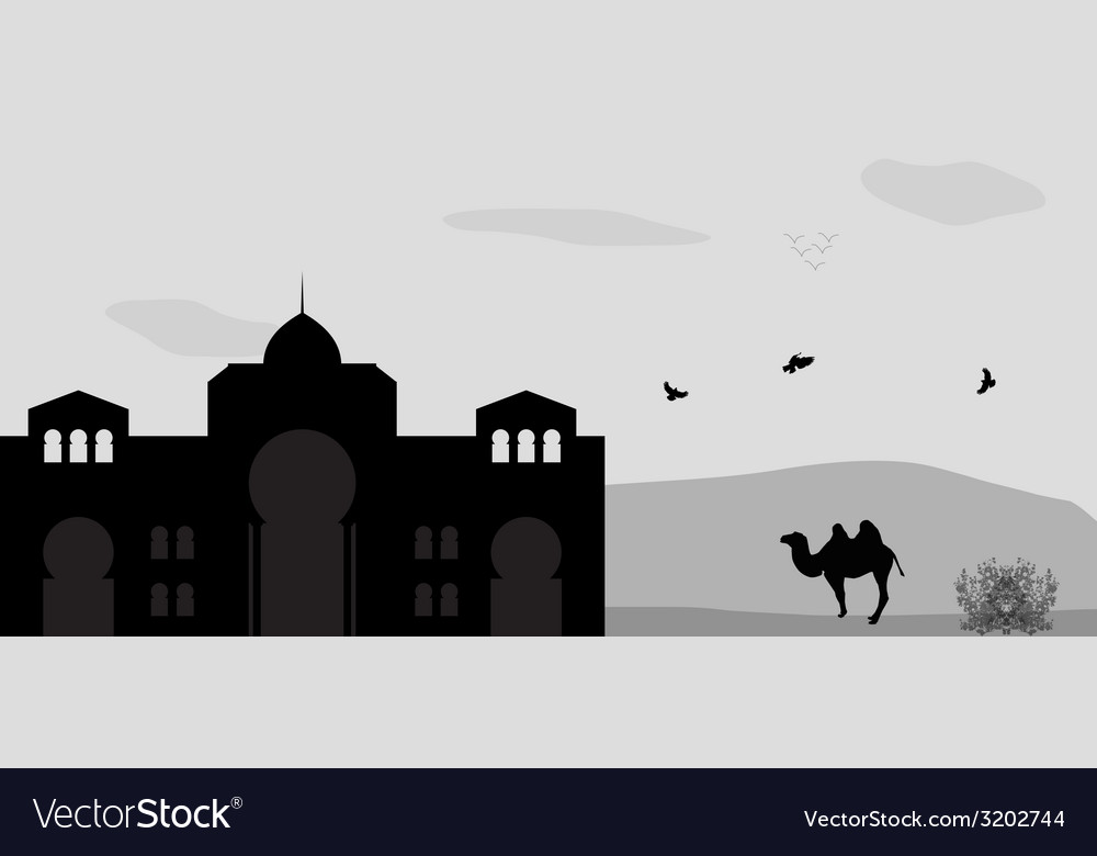 House in the desert and camel vector | Price: 1 Credit (USD $1)