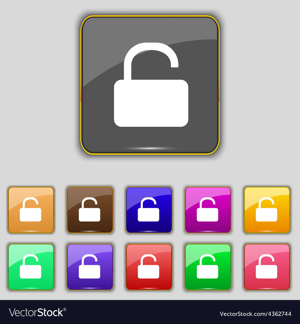 Open padlock icon sign set with eleven colored vector | Price: 1 Credit (USD $1)