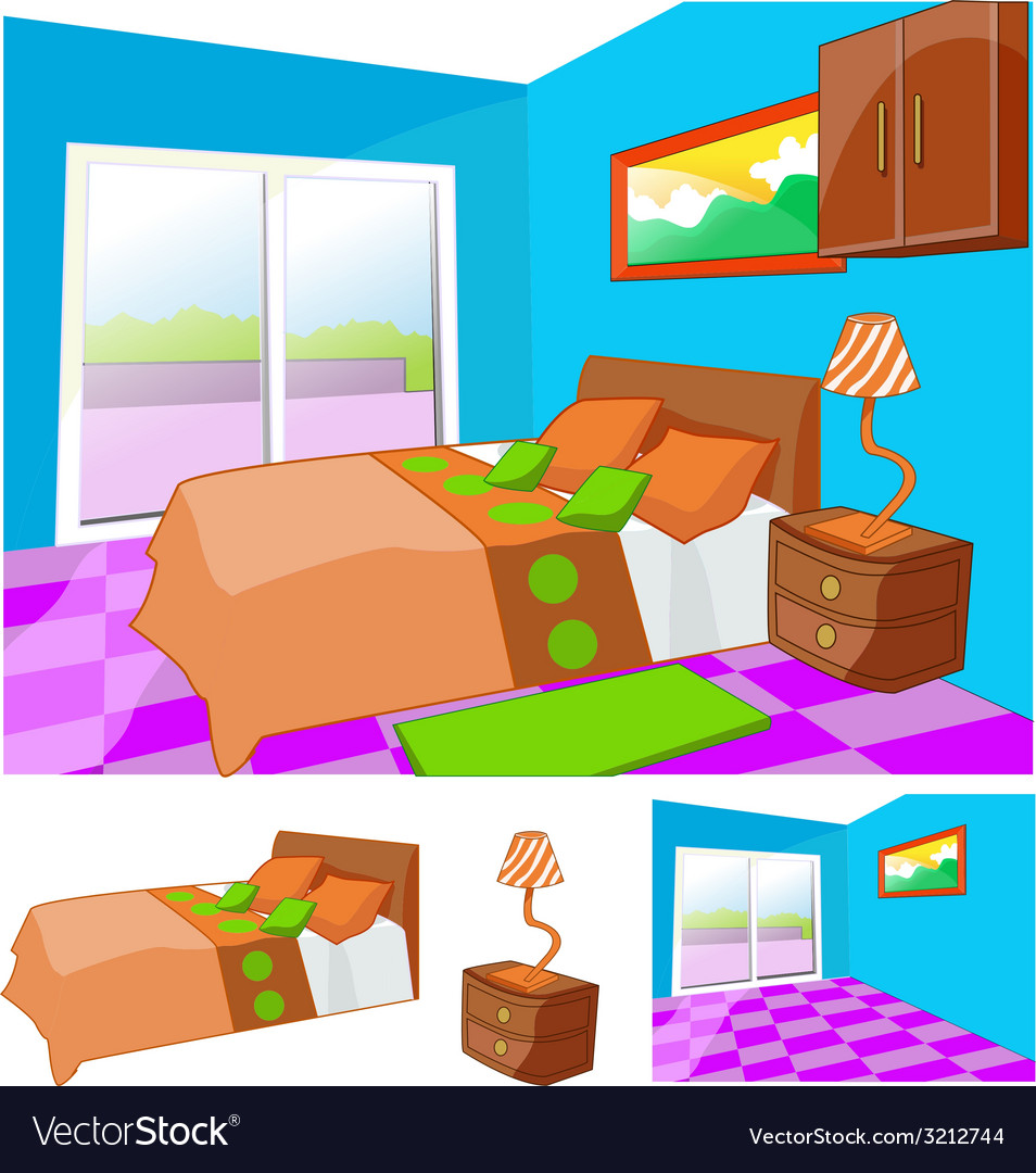 Parents bedroom interior design vector   Price: 1 Credit (USD $1)