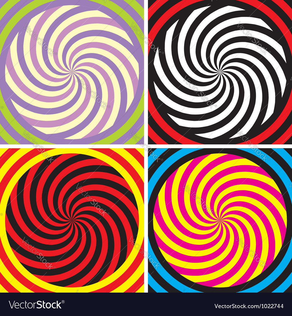 Set of four bright hypnotic poster vector | Price: 1 Credit (USD $1)