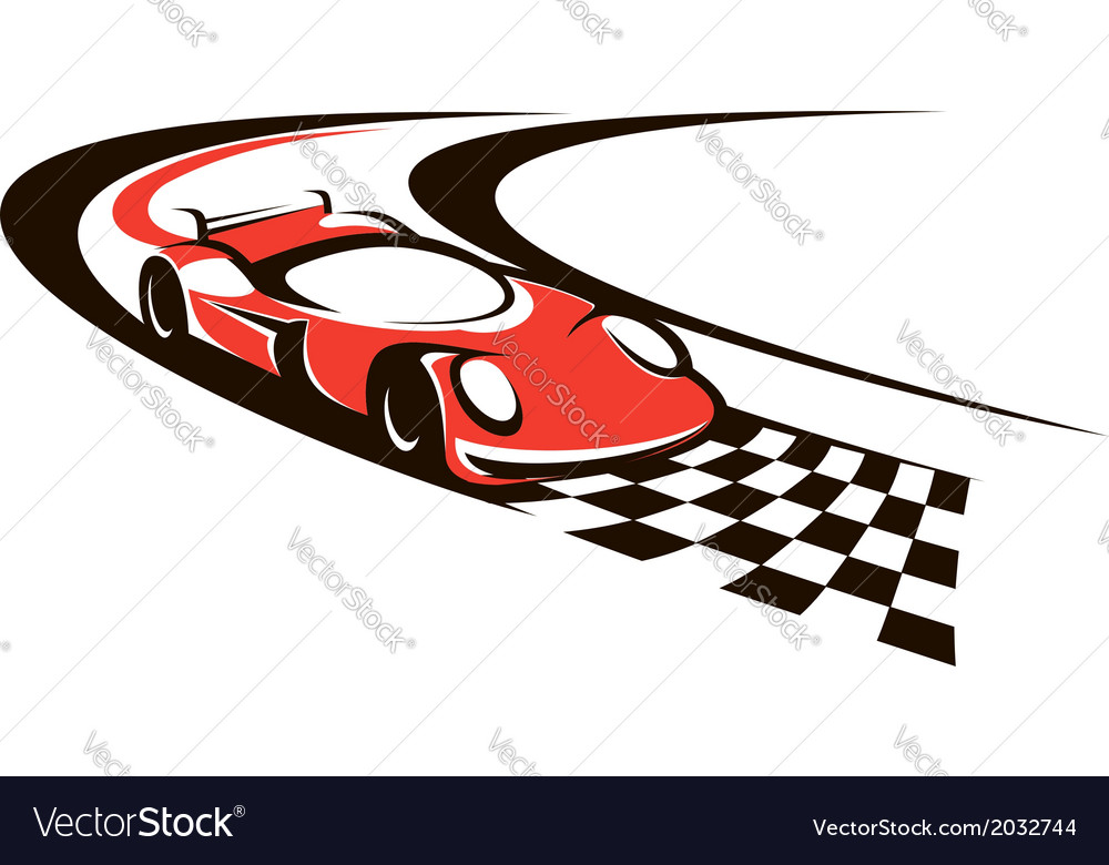 Speeding racing car crossing the finish line vector | Price: 1 Credit (USD $1)