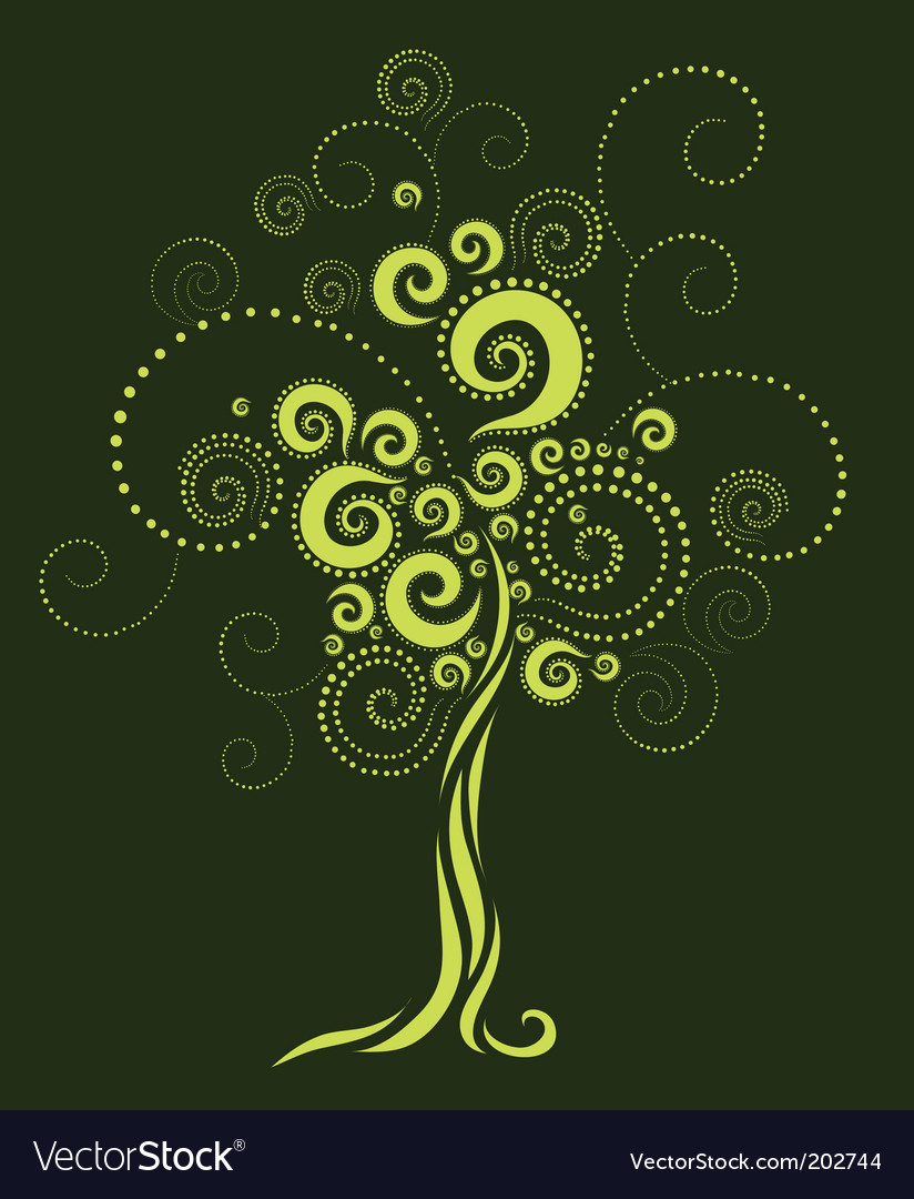 Tree shape from twirls vector | Price: 1 Credit (USD $1)