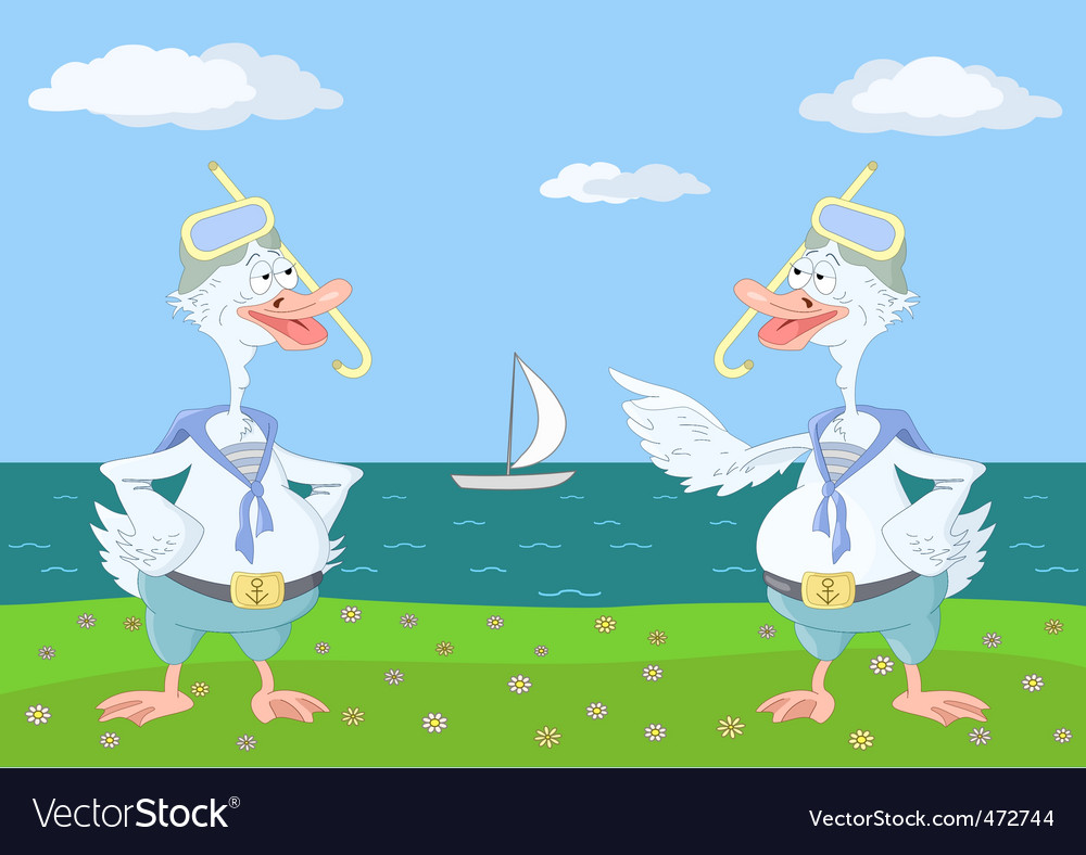 Two geese divers vector | Price: 1 Credit (USD $1)