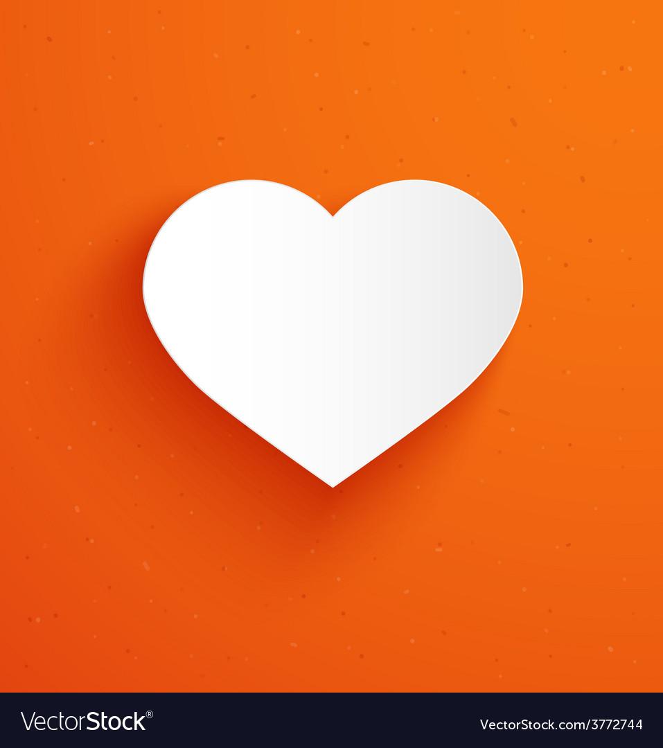 White paper heart on orange background vector