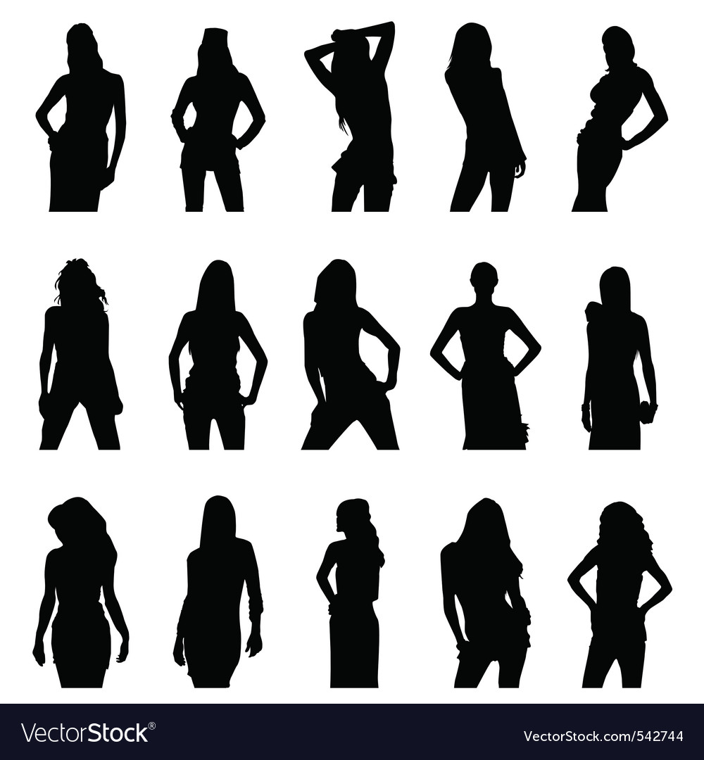 Woman silhouette set vector | Price: 1 Credit (USD $1)