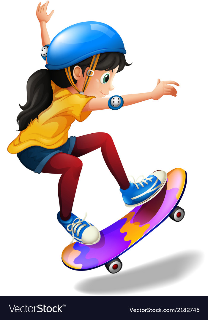 A young girl skateboarding vector | Price: 1 Credit (USD $1)