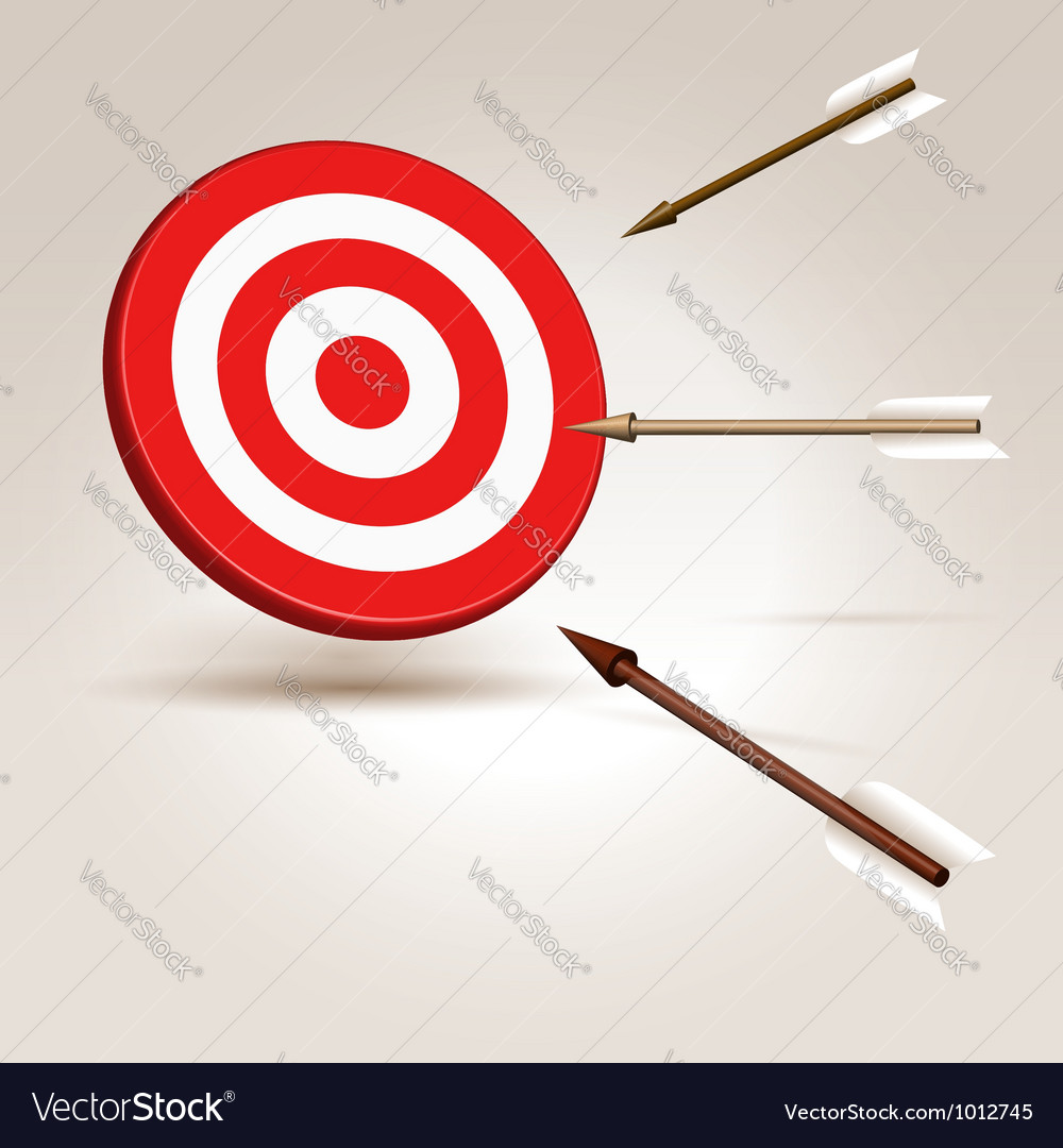 Arrows flying to target vector | Price:  Credit (USD $)