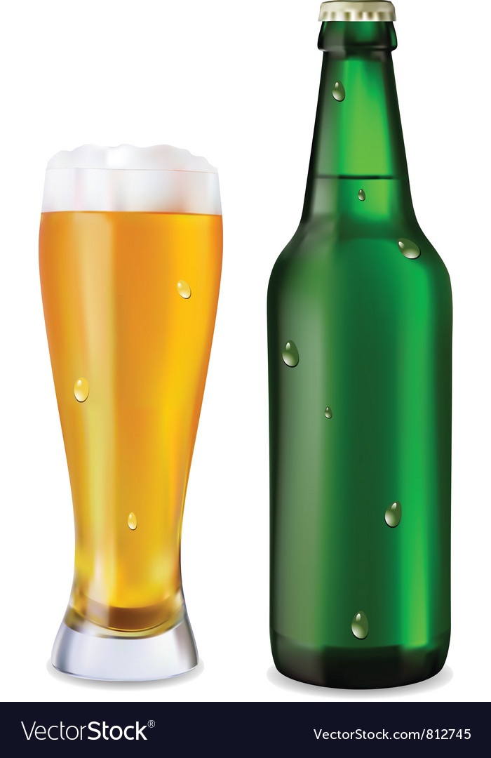 Beer in glass and bottle vector   Price: 1 Credit (USD $1)