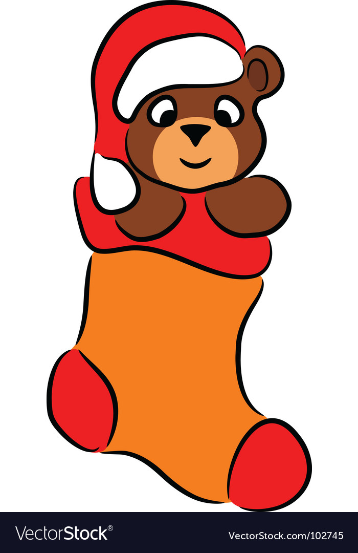 Cartoon bear in christmas sock vector | Price: 1 Credit (USD $1)