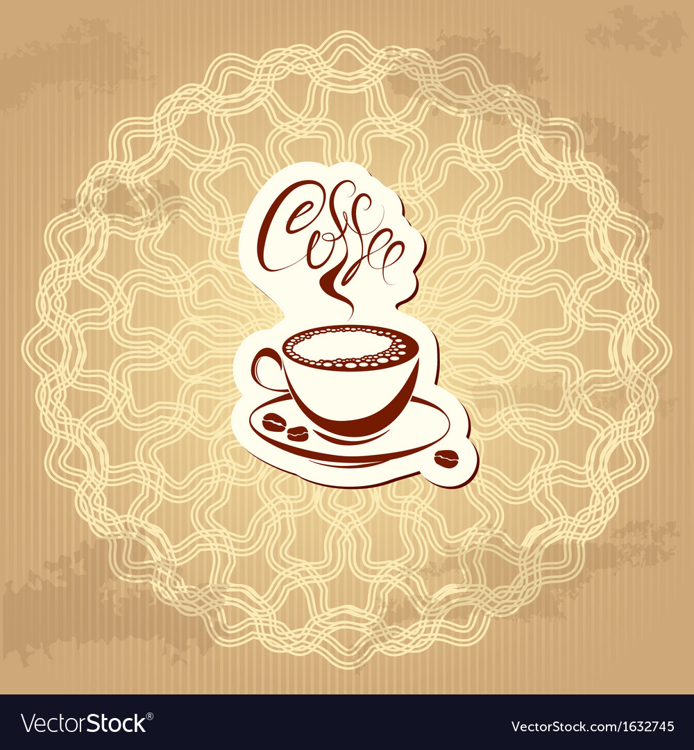 Coffee label over circle ornamental vintage backgr vector | Price: 1 Credit (USD $1)