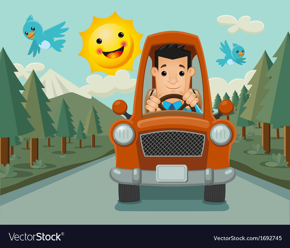 Driver happy on the way vector | Price: 1 Credit (USD $1)