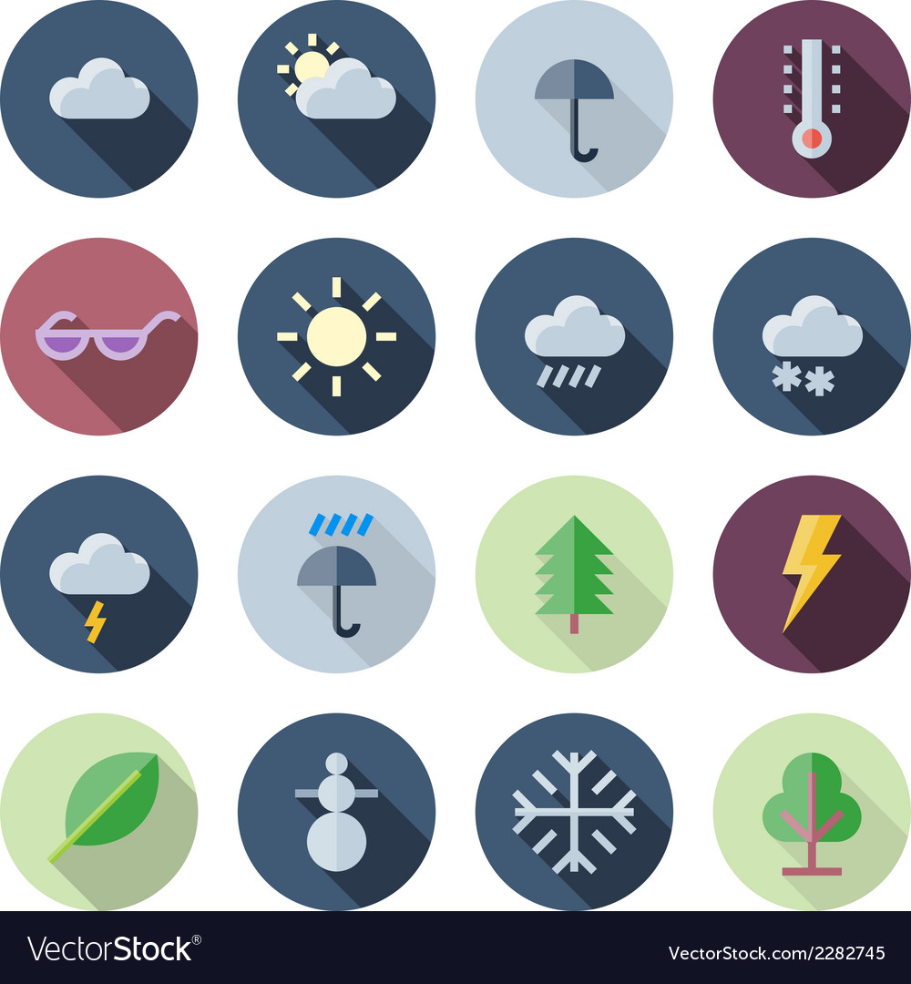Flat design icons for weather and nature vector | Price: 1 Credit (USD $1)