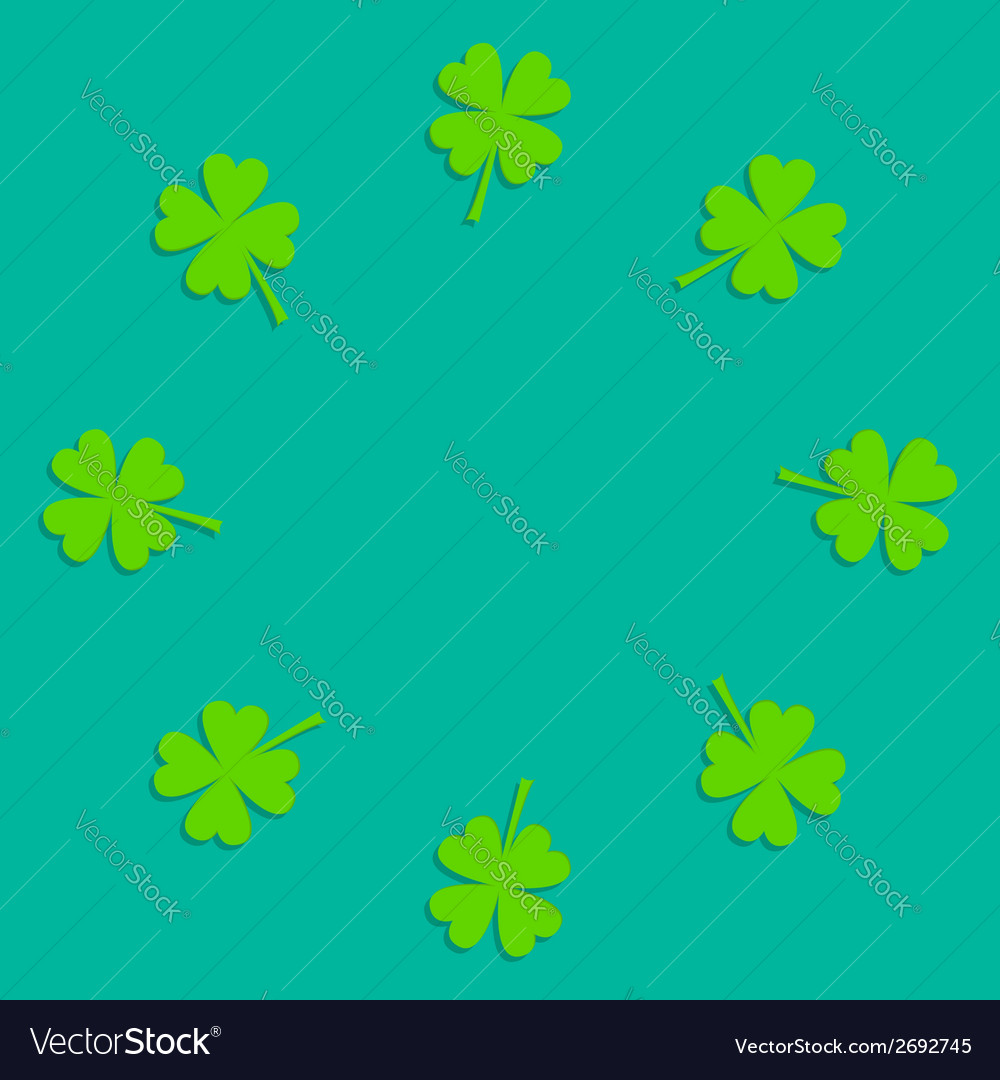 Four leaf clover round frame empty flat design vector | Price: 1 Credit (USD $1)