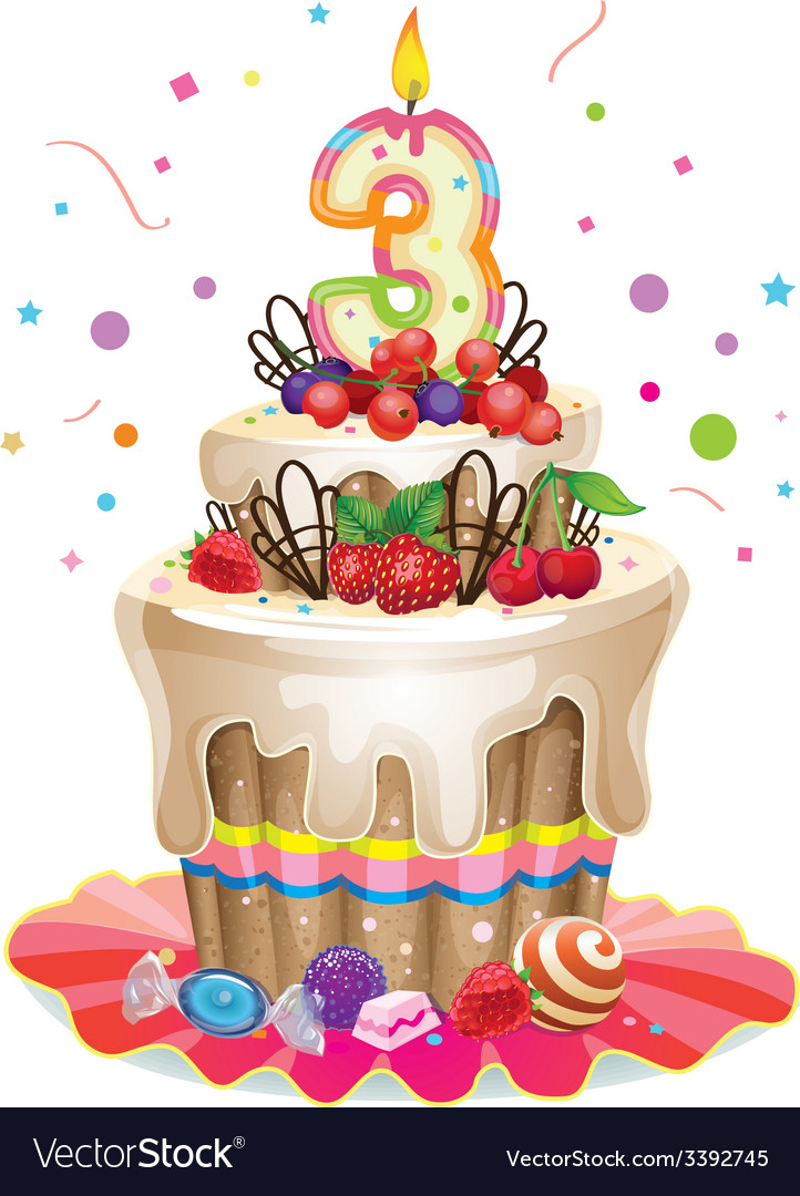 Happy birthday cake 3 vector | Price: 3 Credit (USD $3)