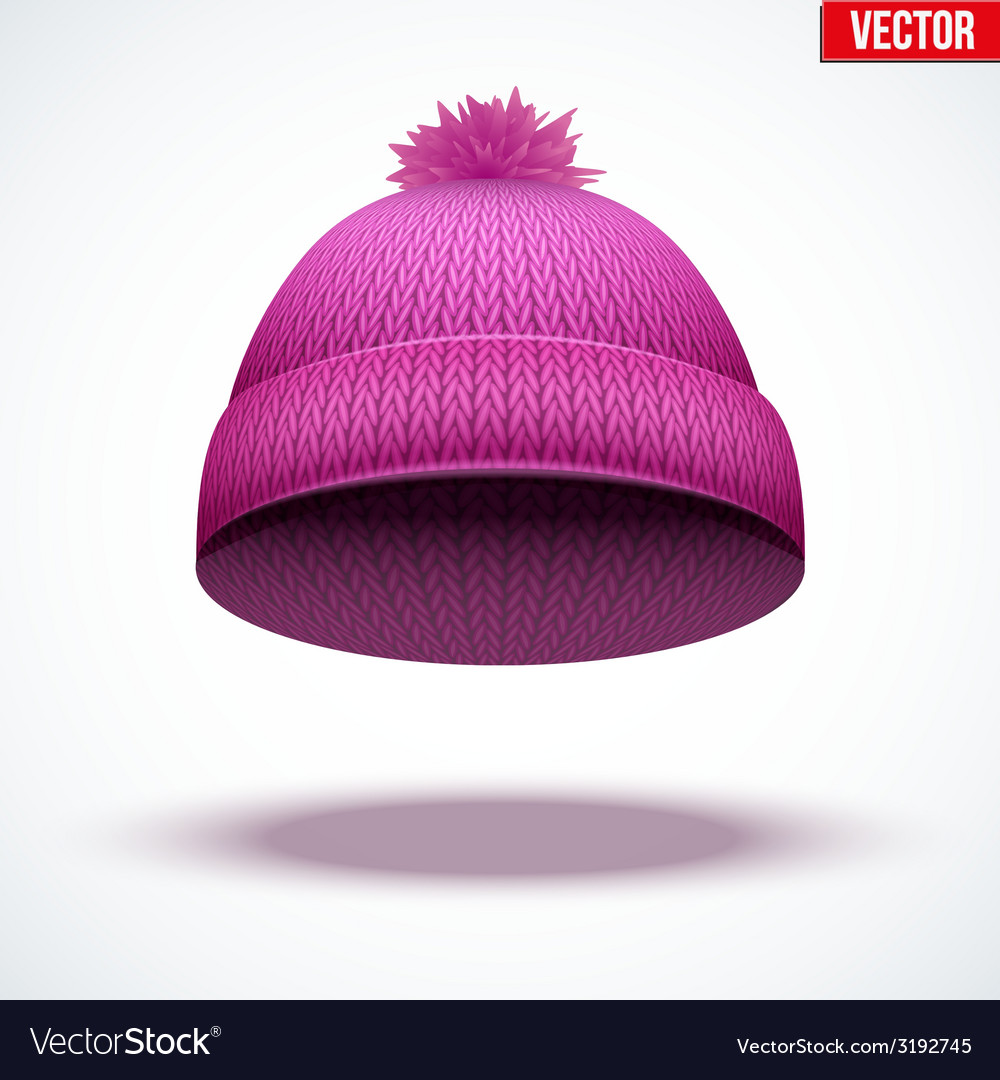 Knitted woolen cap winter seasonal pink hat vector | Price: 1 Credit (USD $1)