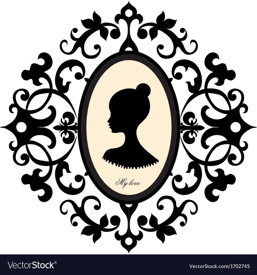 Medallion with a portrait of a girl vector | Price: 1 Credit (USD $1)