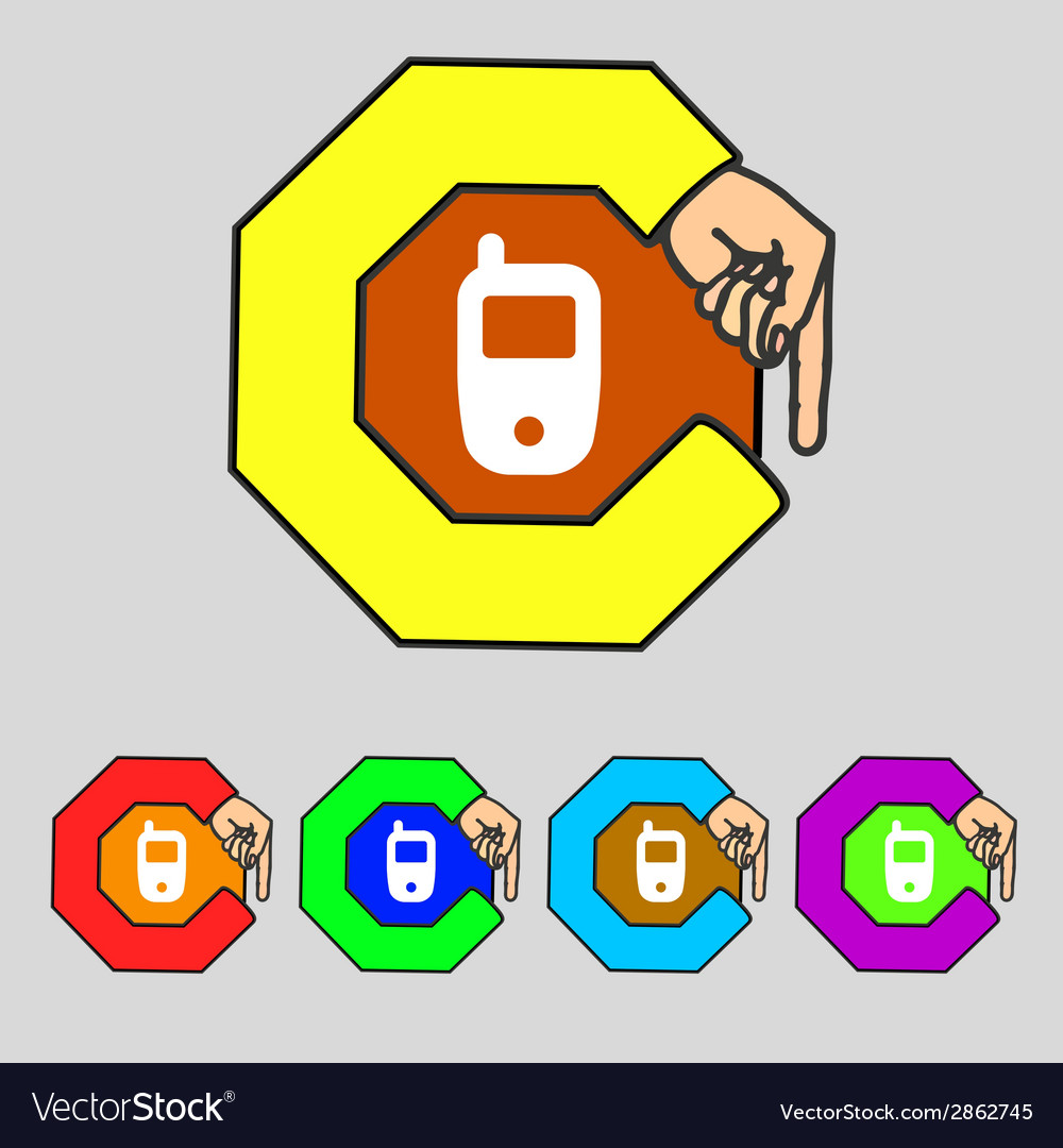 Mobile telecommunications technology symbol set vector | Price: 1 Credit (USD $1)