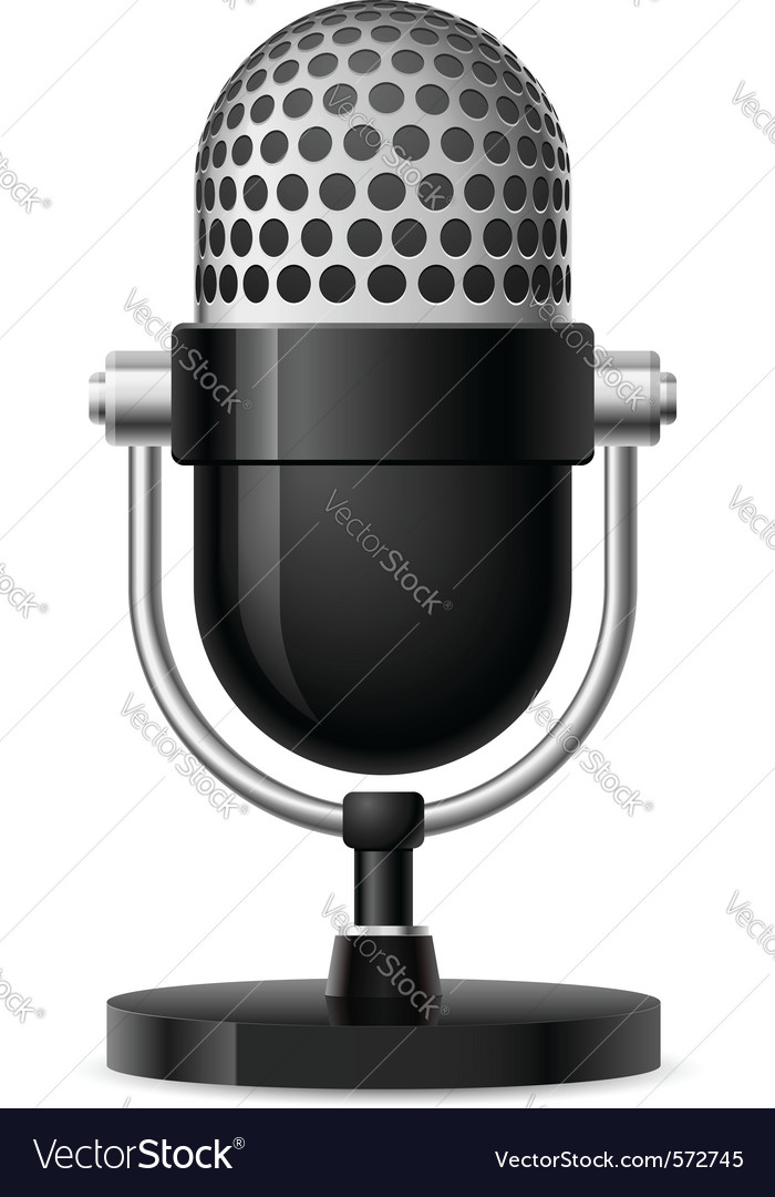 Realistic retro microphone vector | Price: 1 Credit (USD $1)