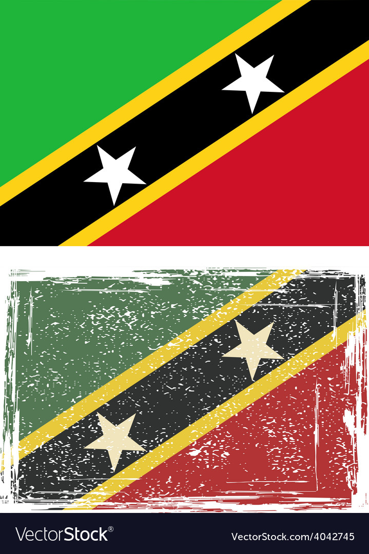 Saint kitts and nevis grunge flag vector | Price: 1 Credit (USD $1)