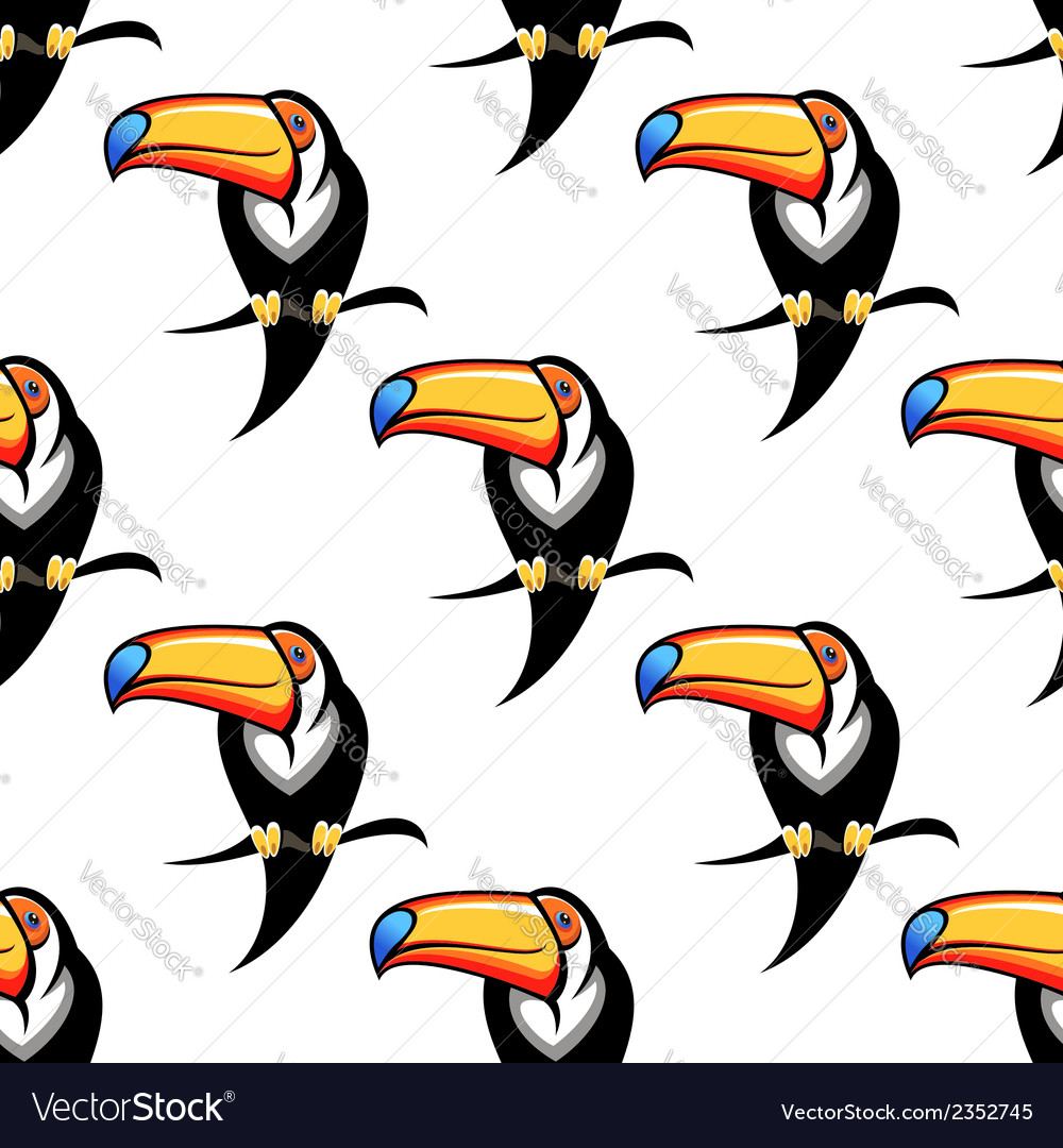 Seamless pattern of a toucan with a big bill vector | Price: 1 Credit (USD $1)