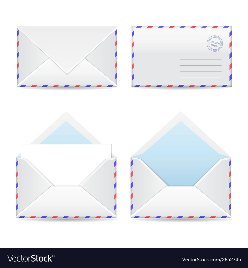 Set of white envelopes vector | Price: 1 Credit (USD $1)