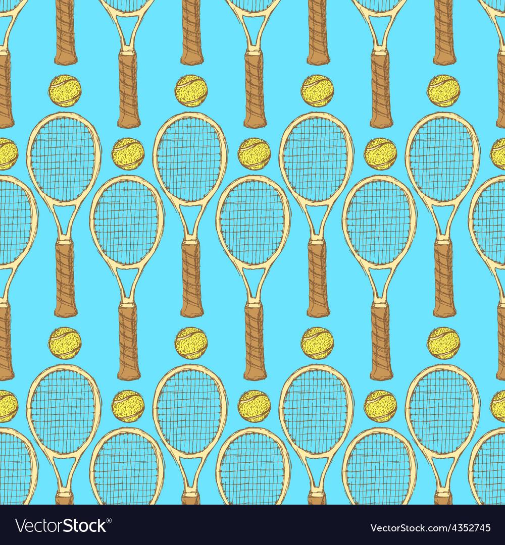 Sketch tennis equipment in vintage style vector | Price: 1 Credit (USD $1)