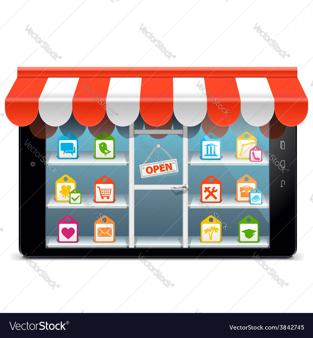 Tablet pc with supermarket concept vector | Price: 3 Credit (USD $3)